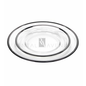 Clear Dinner Plate Black Rim China