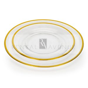 Clear Dinner Plate Set With Gold Rim